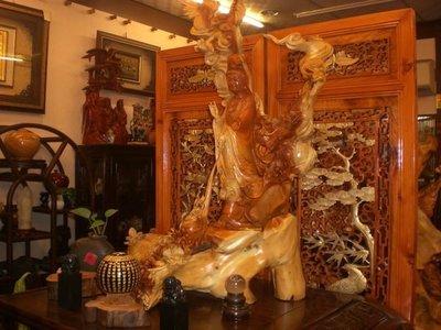 [台南寶麗古典傢俱藝品]龍祥觀音天然有藝術玉山圓柏~收藏傳家藝術精品~長66寬40高88公分
