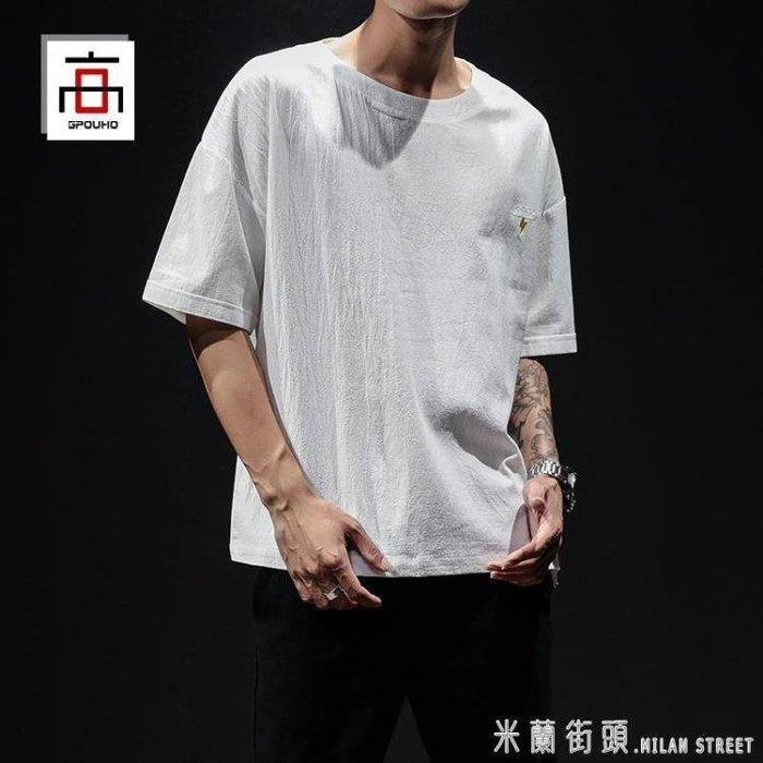 夏季中國風刺繡亞麻t恤男士短袖棉麻半袖大碼胖子寬鬆休閒上衣潮  柳風向