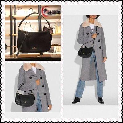 美國正品 COACH 52548 全皮小號半月包 女式單肩背包 斜跨包 黑色柔軟荔枝紋皮
