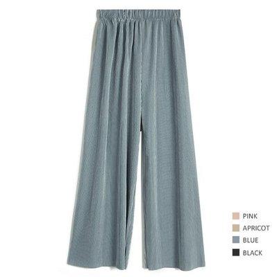 寬褲 長褲  連平時不穿闊腿褲的人都買了兩個色,牆裂推薦!細壓紋垂感大腳褲—莎芭