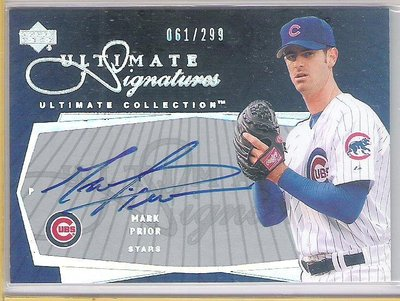 2003 UD Ultimate Collection  MARK PRIOR   限量 親筆簽名卡 卡面簽