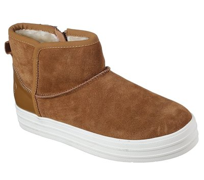 SKECHERS(女)休閒鞋 836 CSNT 咖啡色 厚底拉鍊雪靴  官網價7折1520