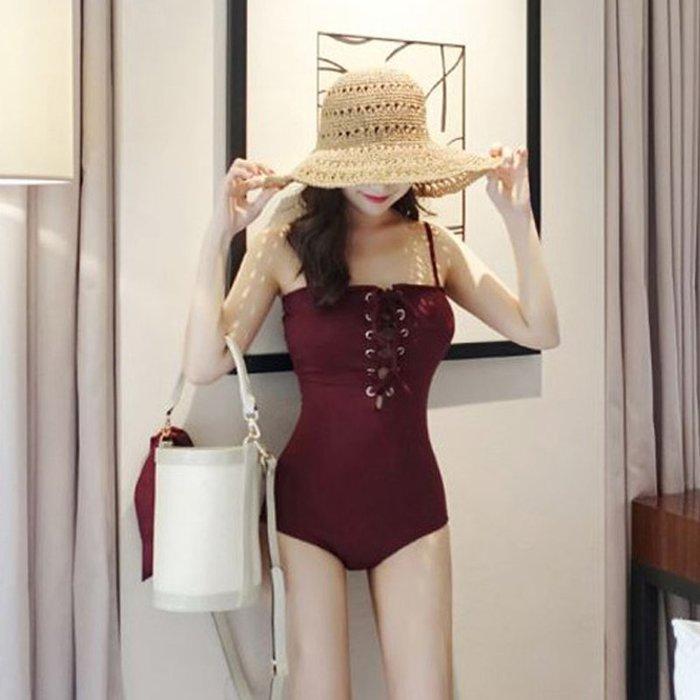 東大門平價鋪  女性感綁帶顯瘦遮肚泳衣,溫泉沙灘度假游小胸三角連體泳衣