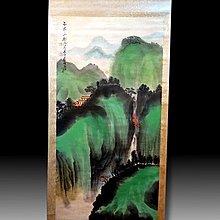 【 金王記拍寶網 】S1999  張大千款 潑彩 山水圖 手繪書畫捲軸一幅 罕見 稀少~