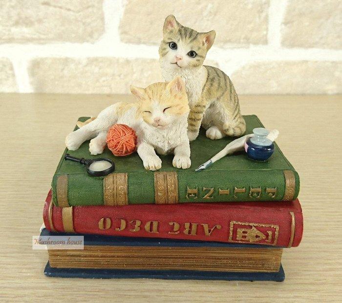 點點蘑菇屋 歐洲精品可愛貓咪毛線球珠寶盒 置物盒 收納盒 首飾盒 精裝古典書本 放大鏡 現貨