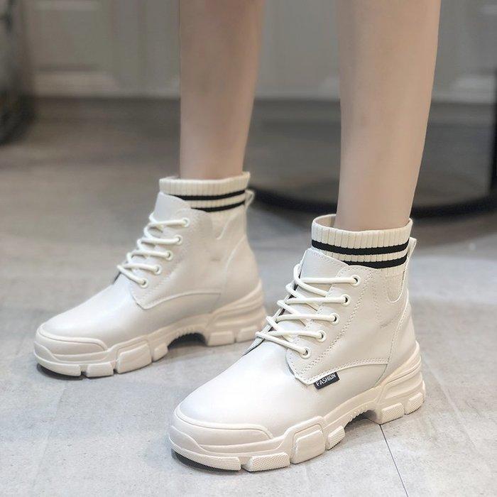 冬季保暖女靴 馬丁鞋 長靴機車靴 韓版百搭帥氣馬丁靴女秋冬英倫風百搭厚底襪子靴瘦瘦靴短靴女靴子
