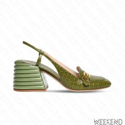 【WEEKEND】 FENDI Promenades 鱷魚紋 皮革 露根 高跟鞋 綠色 20春夏