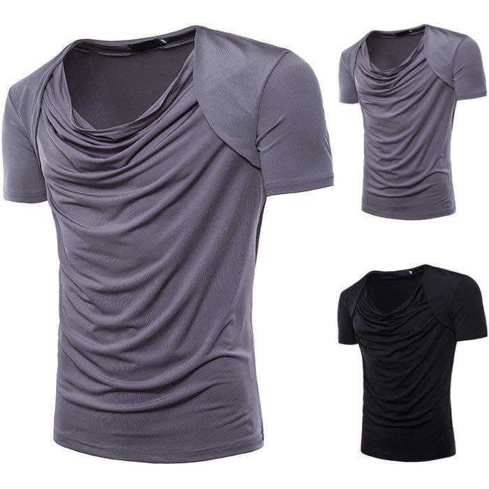 『潮范』 S5 新款外貿堆領套頭衫 男士短袖T恤 素面T恤 棉質T恤 潮T恤NRG836