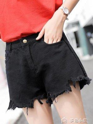 ZIHOPE 新款破洞牛仔短褲女夏薄款韓版寬鬆黑色百搭學生寬管熱褲高腰ZI812