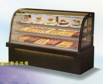 鑫忠廚房設備-餐飲設備:六尺落地型弧形蛋糕櫃-賣場有西餐爐-烤箱-水槽-工作檯