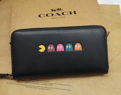 COACH 55736 吃豆豆款 長夾 手拿包 女夾 零錢包 女生皮夾 附購證