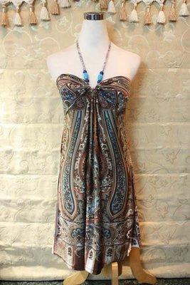 【性感貝貝2館】咖啡色民俗風寶石繞頸洋裝, mastina L'lar INED Single Noble 23區