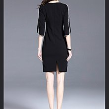 [C.M.平價精品館]M~3XL/歐洲款手縫珍珠開叉性感袖飾修身半袖洋裝