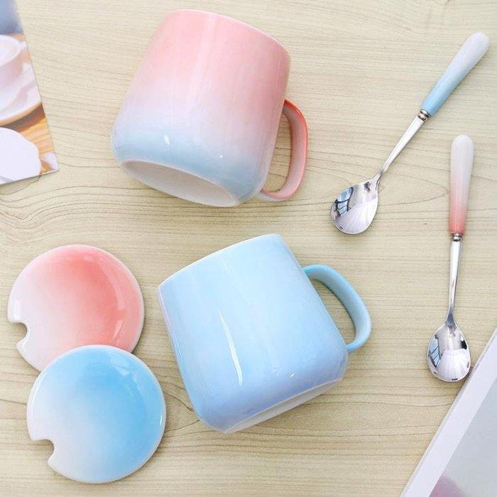 家用馬克陶瓷帶蓋勺麥片情侶款杯子一對簡約文藝少女清新可愛正韓