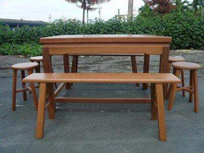 A008 {崙頂傳統原木家具行}~邊框實木桌配 板凳 椅頭仔 接受訂做.訂色