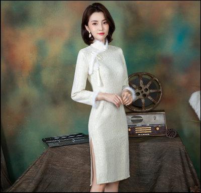 ~~Miss Goddess~~  毛領旗袍新款冬款加絨加厚年輕款名媛小個子顯瘦高端氣質長袖