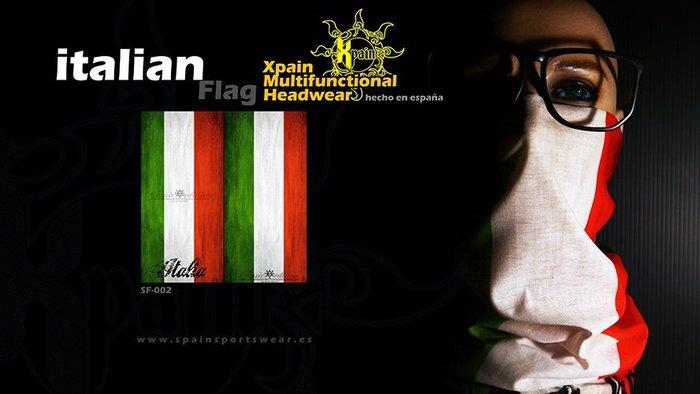 純正西班牙製造西班牙Xpain多功能頭巾 魔術頭巾 義大利國旗亦有其他國家國旗多功能頭巾 大英帝國 愛爾蘭 奧地利 捷克