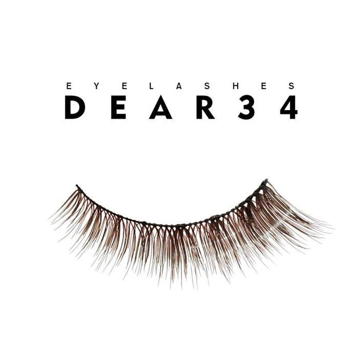 《Dear34》深棕504棉線梗眼尾加長局部加強眼尾濃密咖啡色上睫毛1.3cm純手工編織假睫毛一盒五對入