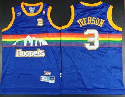 Denver Nuggets金塊隊3號Allen Iverson 艾弗森 復古球衣 彩虹