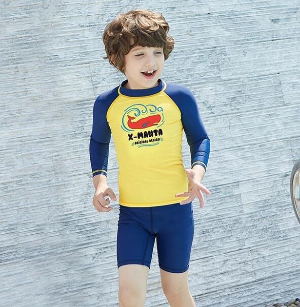 莎芭 兒童分體泳衣套裝 男童長袖泳裝中小童3-15歲 防曬速幹溫泉泳衣潛水服