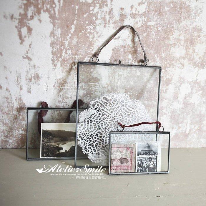 [ Atelier Smile ] 鄉村雜貨 復古作舊 文藝風 玻璃展示框架 可懸掛 可訂製 (現+預)