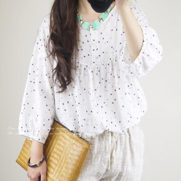 韓國連線 棉麻紗拋袖娃娃裝上衣 雙色點點 ~桔子瑪琪朵