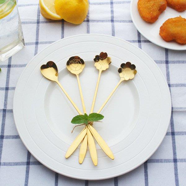 《Jami Honey》【JH1187】不銹鋼鍍金櫻花玫瑰勺子 冰淇淋勺 攪拌勺 湯匙