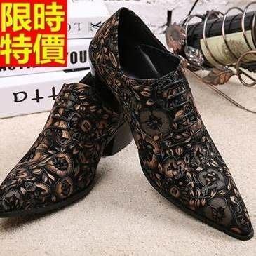 尖頭鞋 真皮皮鞋-時尚雕花繫帶英倫高跟男鞋子65ai11[獨家進口][米蘭精品]