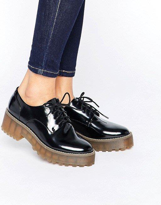 ◎美國代買◎ASOS代買厚底橡膠鞋底搭配漆皮尖圓頭英倫龐克牛津鞋~大尺碼~歐美街風