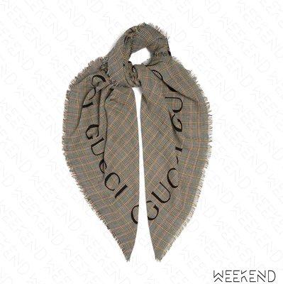 【WEEKEND】 GUCCI Check Wool Shawl 格紋 羊毛 圍巾 灰色 20春夏 572419
