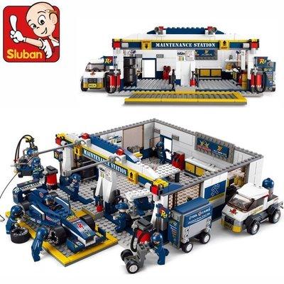 【優上精品】小魯班賽車系列 拼裝玩具 F1維修站模型賽車兒童組裝積木(Z-P3257)