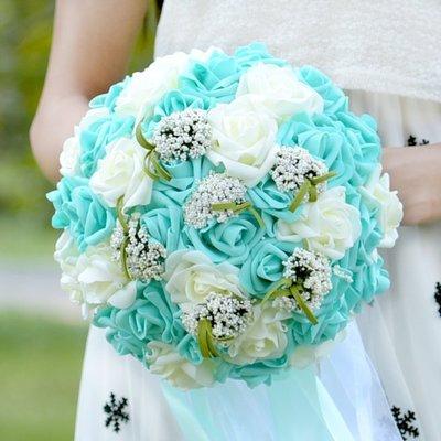 【晴天婚禮小物】經典藍綠新娘捧花/珍珠經典藍 手作捧花 人造捧花 珠寶捧花