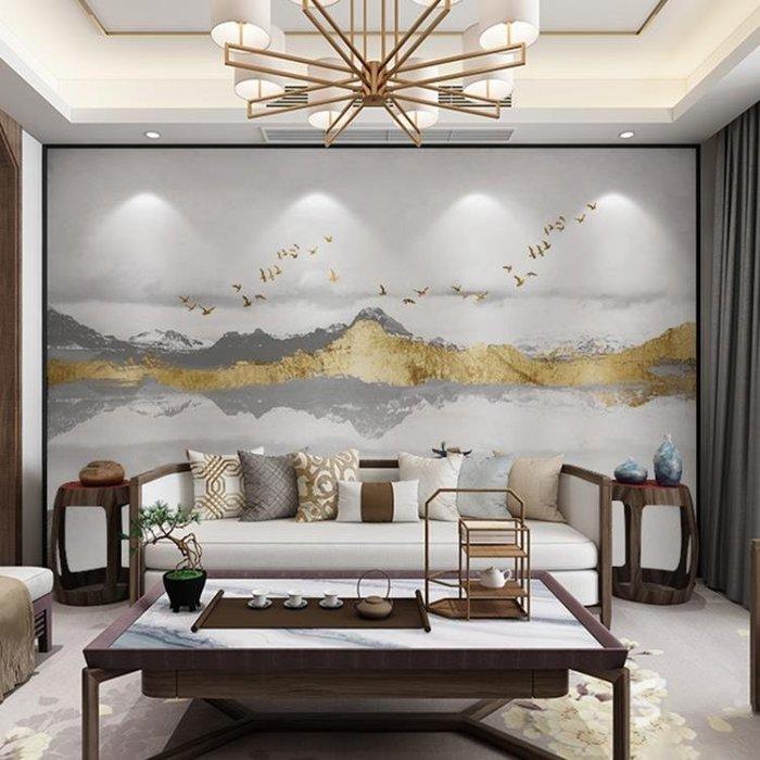 半島鐵盒 壁畫 中式山峰裝飾畫沙發電視背景墻紙壁畫無縫墻布