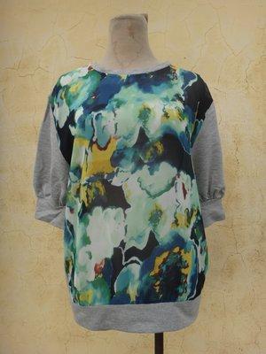 jacob00765100 ~ 正品 SLY 綠色花卉 五分袖棉質上衣 size: 1
