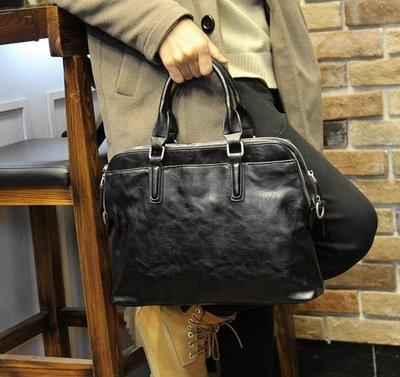 FINDSENSE Z1 韓國 時尚 潮 男 皮質 商務旅行包 方形包 手提包 單肩包 斜背包 側背包