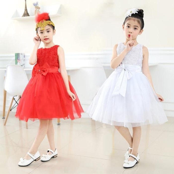 洋裝長袖洋裝六一小孩兒童禮服合唱花童女童公主裙大童演出服