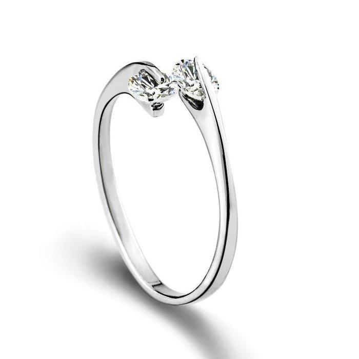 《現貨》國際S925純銀 心相依 開口戒指 生日禮物 情人節禮物 Baonizi 寶妮子