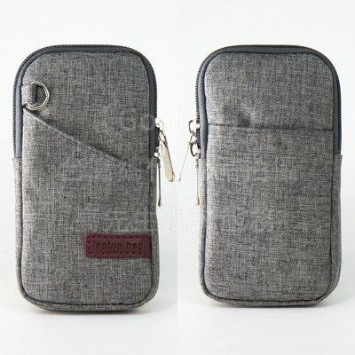 【GooMea】3免運 Huawei華為 Y7 5.5 吋 拉鍊款 亞麻布 手拿袋 手拿 頸掛 灰色