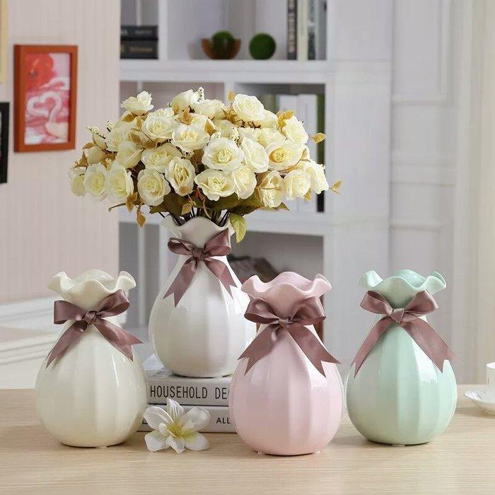 粉紅玫瑰精品屋~歐式簡約蝴蝶結陶瓷花瓶 花器~