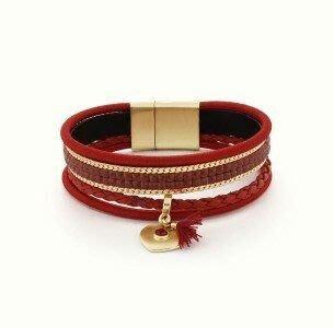 Kapal-Laut 時尚皮革製鑲水晶手環 Api leather beaded bracelet