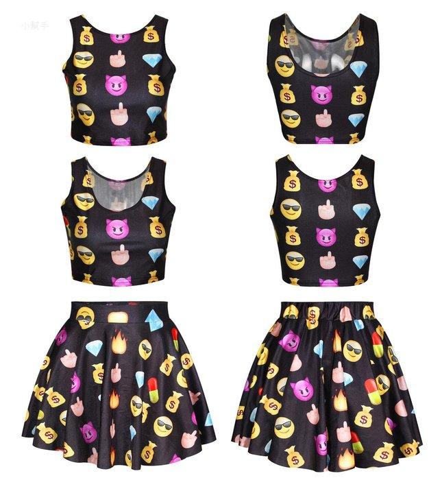 可愛上衣緊身背心蓬蓬裙兩件套裝表情數碼印花顯瘦時尚女裝#優品小鋪#