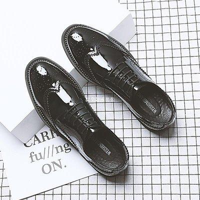 默莫韓國男裝布洛克夏季新款亮面內增高潮鞋商務正裝系帶百搭英倫休閒男士皮鞋