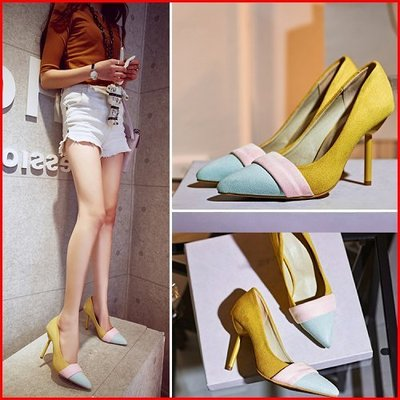大尺碼*鞋館Shoes hall*【A5517】日雜春作~優雅雙色尖頭高跟鞋~2色~(可訂做大尺碼)