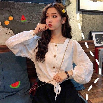 小香風 短袖T恤 時尚穿搭 韓版 法式小眾下擺抽繩寬松方領短款洋氣長袖白襯衫女