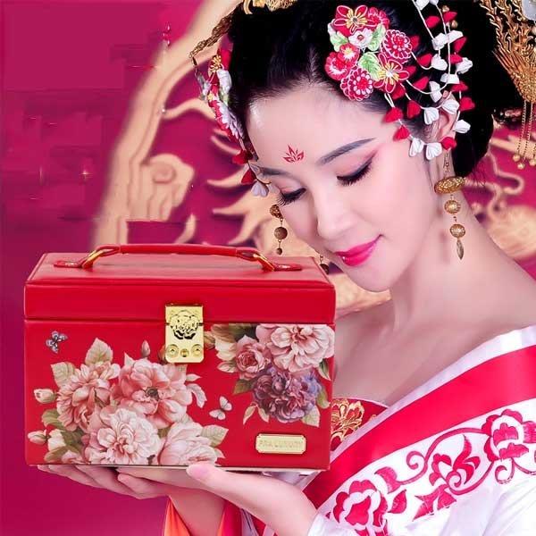5Cgo【鴿樓】會員有優惠  45626891673 首飾盒歐式公主木質高檔印花複古飾品珠寶收納盒結婚生日禮品