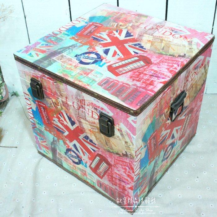 ~*歐室精品傢飾館*~美式鄉村/Loft工業 木製 皮革 收納箱 (大) 歐洲街景 玩具箱 藏寶箱 擺飾 ~新款上市~