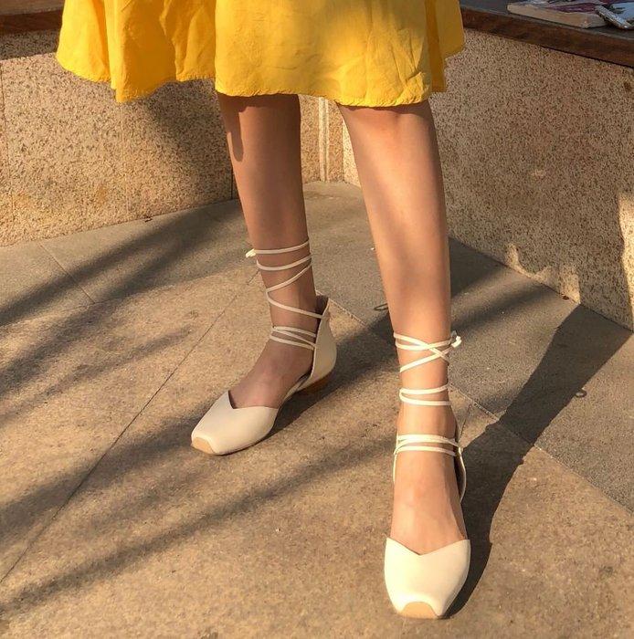 【鳳眼夫人】自製款熱銷復刻 2色 真皮仙女本人復古小豬鼻綁帶方頭平底芭蕾舞鞋 方頭鞋跳舞鞋平底鞋溫柔甜美氣質綁帶涼鞋百搭