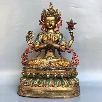 純銅彩繪佛像【四臂觀音】佛像 家居供奉長23.5, 寬17, 高37