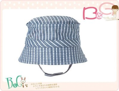 【B& G童裝】正品美國進口GYMBOREE Striped Chambray 藍色條紋嬰兒繫戴帽18-24mos