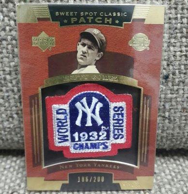 2004 Lefty Gomez 紀念標誌補丁限量186/200棒球卡!
